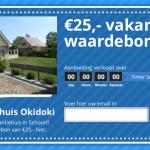 Vakantiehuis Okidoki deelt tijdelijk vakantiewaardebonnen uit van 25,- euro!